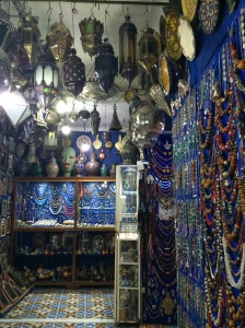 A souk with lamps and jewelry